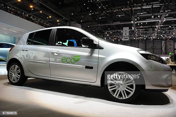 A Renault Clio automobile is seen on display on the second press day of the Geneva International Motor Show in Geneva Switzerland on Wednesday March...