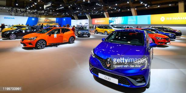 Renault Clio compact family hatchback car on display at the Renault motor show stand at Brussels Expo on January 9, 2020 in Brussels, Belgium.