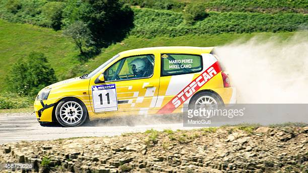 renault clio rally car - rally car stock photos and pictures
