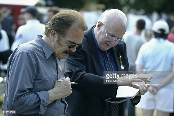 Renault designer Patrick le Quement and Clive James judge the Cartier Style et Luxe competition during the Goodwood Festival of Speed at Goodwood...
