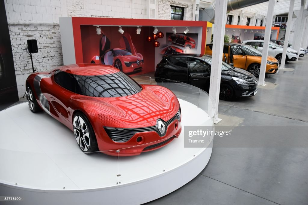 Renault DeZir and other Renault vehicles in the showroom : Stock Photo