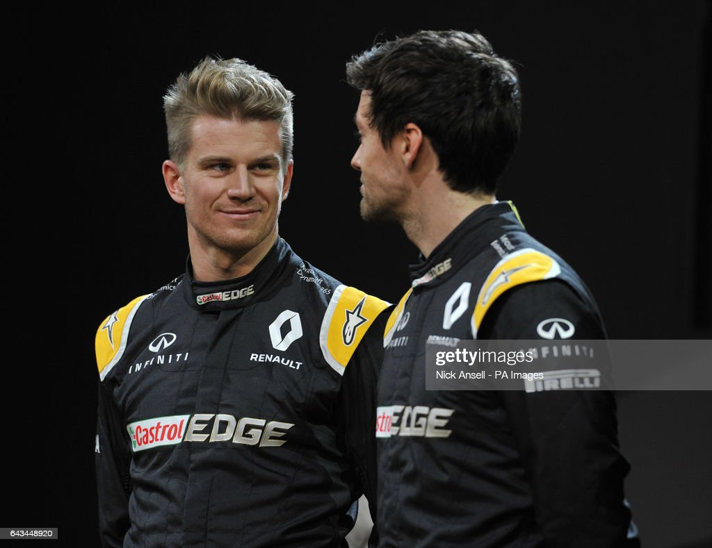 Renault drivers Nico Hulkenberg (left) and Jolyon Palmer, during the Renault RS17 Car Launch at Lindley Hall, London.