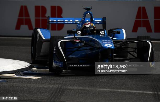 Renault edams racing Formula E team driver Switzerland's Sebastien Buemi steers his car during the Super Pole session prior to the Rome leg of the...