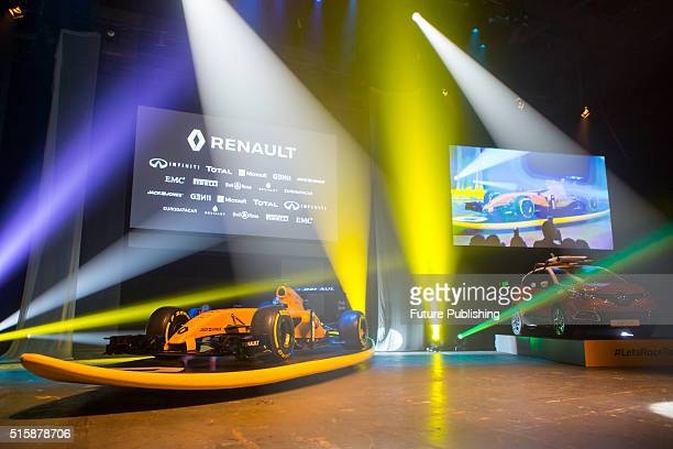 Renault F1 boss Cyril Abiteboul and David Croft discuss the new 2016 Reanault F1 team livery on March 16 2016 in Melbourne Australia UK Office London...