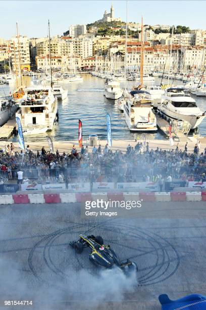 Renault F1 car performs doughnuts for the fans during F1 Festival Marseille on June 22 2018 in Marseille France