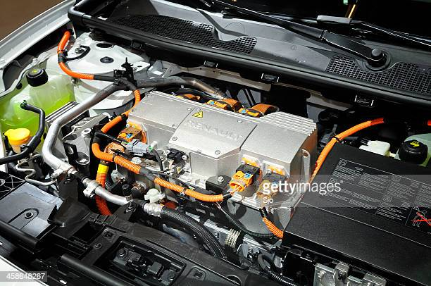 renault fluence engine - hybrid car stock photos and pictures