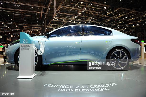 A Renault Fluence ZE concept automobile is seen on the first press day of the Geneva International Motor Show in Geneva Switzerland on Tuesday March...