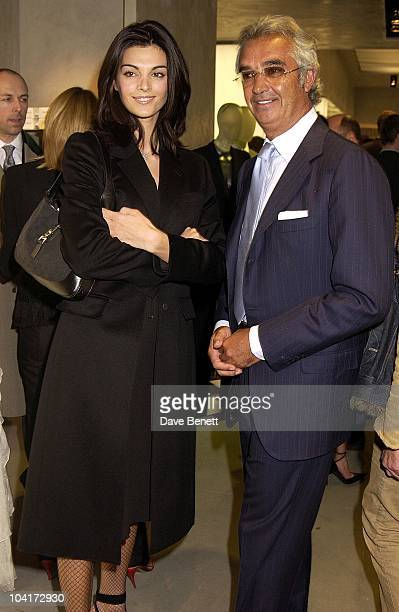 Renault Formula One Team Boss [and Naomi Cambell Ex ]flavio Briatore With New Friend Russell Crowe Oscar Nomination Cocktail Dinner Party New Giorgio...