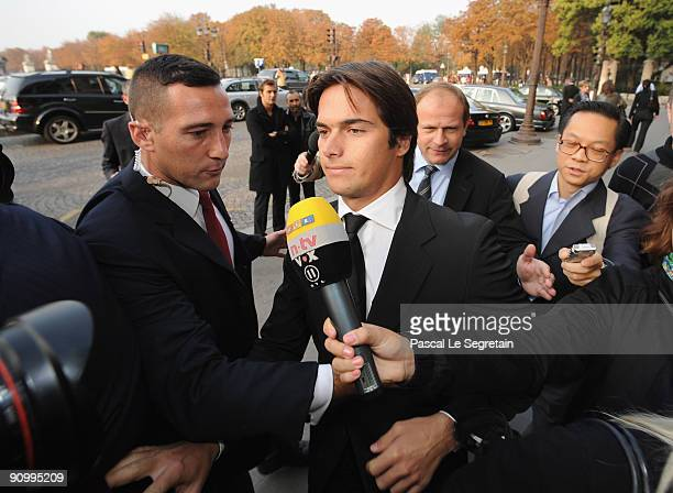 Renault Formula One team former driver Nelson Piquet Jr arrives at the FIA headquarters to attend World Motor Sport Council hearing on September 21...