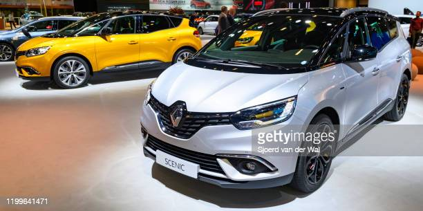Renault Grand Scénic and Scenic compact multi-purpose vehicle on display at Brussels Expo on January 9, 2020 in Brussels, Belgium. The Scenic IV is...