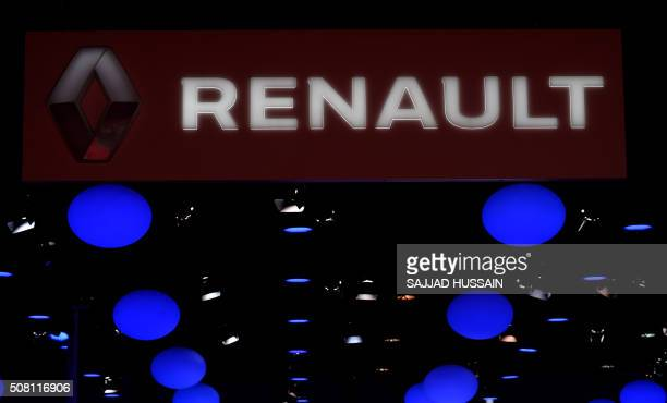 A Renault logo is pictured at the Indian Auto Expo 2016 in Greater Noida on the outskirts of New Delhi on February 3 2016 India's flagship auto show...