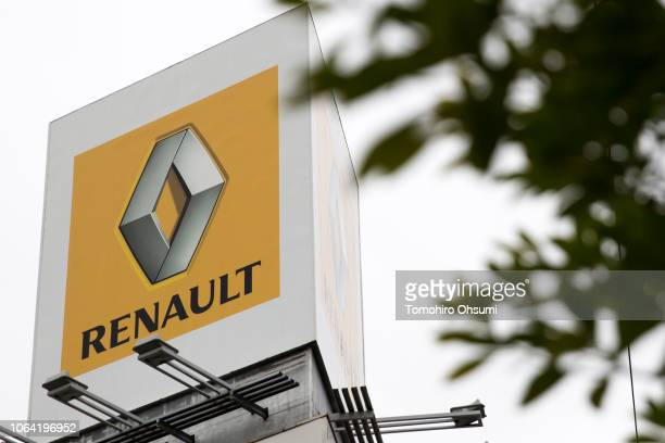 Renault SA logo is seen outside a dealership on November 22 2018 in Tokyo Japan Nissan chairman Carlos Ghosn was arrested in Tokyo on Monday after an...