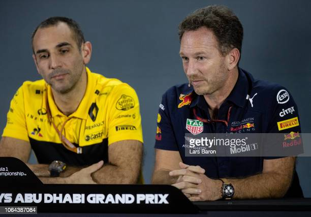 Renault Sport F1 Managing Director Cyril Abiteboul and Red Bull Racing Team Principal Christian Horner in the Team Principals Press Conference during...
