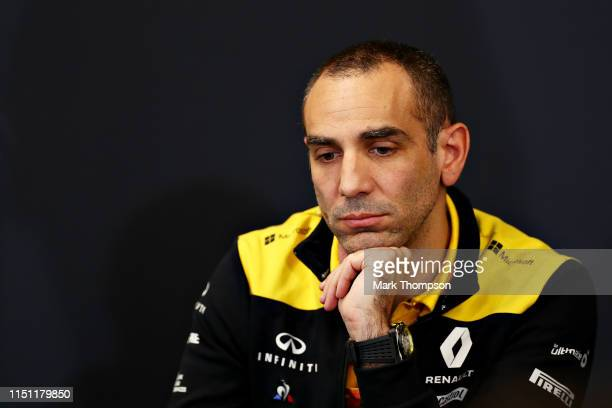 Renault Sport F1 Managing Director Cyril Abiteboul talks in the Team Principals Press Conference during practice for the F1 Grand Prix of Monaco at...