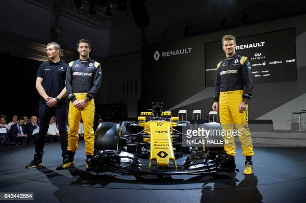 Renault Sport Formula One drivers Sergey Sirotkin Jolyon Palmer and Nico Hulkenberg pose for photographers as Renault launch the RS17 their new car...