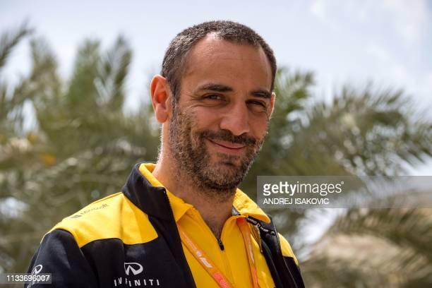 Renault team principal Cyril Abiteboul walks down the paddock prior to the third practice session ahead of the Formula One Bahrain Grand Prix at the...