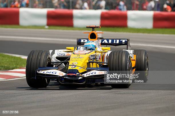 Renault team race car driver Fernando Alonso rounds a corner at the Formula One Grand Prix of Canada at the Gilles Villeneuve circuit in Montreal.
