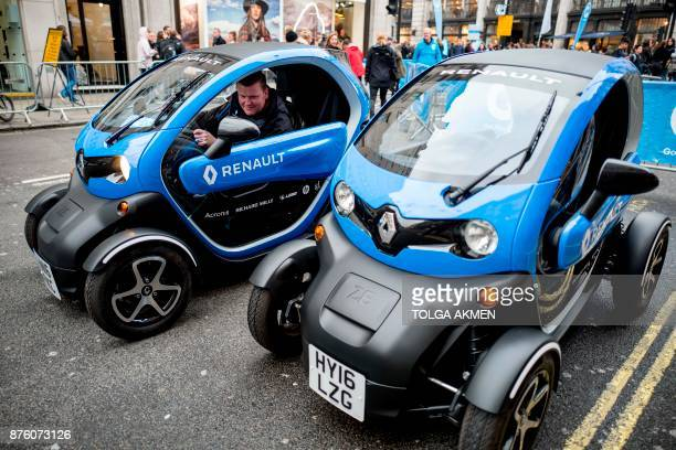 Renault Twizy electric vehicles are seen during the Regent Street Motor Show in London on November 4 2017 A driverless electric car is only a swipe...