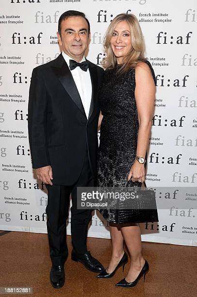 RenaultNissan Alliance Chairman and CEO Carlos Ghosn and Carole Nahas attend the 2013 Trophee Des Arts gala on November 15 2013 in New York City