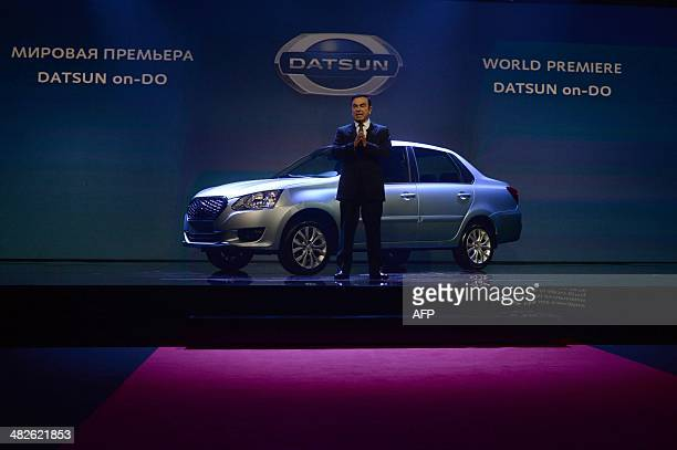 RenaultNissan CEO Carlos Ghosn presents Datsun onDo a budget sedan the first model ever to be made in Russia under the Datsun brand in Moscow on...