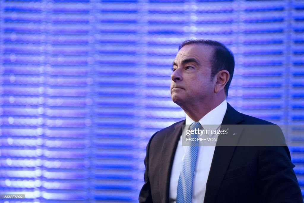 Renault-Nissan Chairman and CEO Carlos Ghosn looks on during a press conference on the Renault strategic plan 'Drive the Future 2017-2022', at la Defense business district, in Paris, on October 6, 2017. /