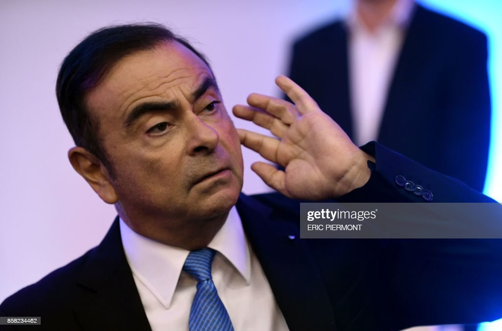 Renault-Nissan Chairman and CEO Carlos Ghosn looks on during a press confrence on the Renault strategic plan 'Drive the Future 2017-2022', at la Defense business district, in Paris, on October 6, 2017. /