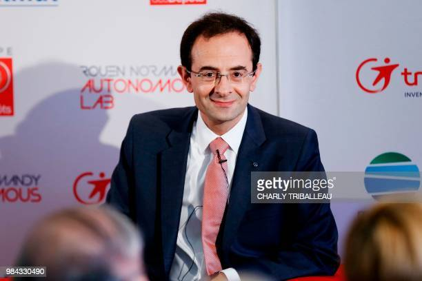 RenaultNissan development director Hadi Zablit looks on during the presentation of the autonomous car service in the northwestern city of Rouen on...