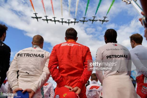Renault's Australian driver Daniel Ricciardo, Mercedes' Finnish driver Valtteri Bottas, Ferrari's Monegasque driver Charles Leclerc, Mercedes'...