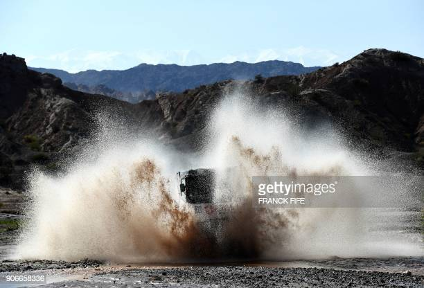 TOPSHOT Renault's Dutch truck driver Gert Huzink and codrivers Rob Buursen and Martin Roesink compete during the Stage 12 of the 2018 Dakar Rally...