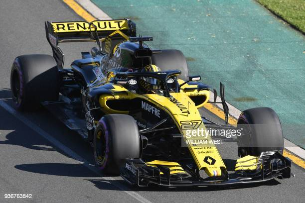 Renault's German driver Nico Hulkenberg drives around the Albert Park circuit during the second Formula One practice session in Melbourne on March 23...