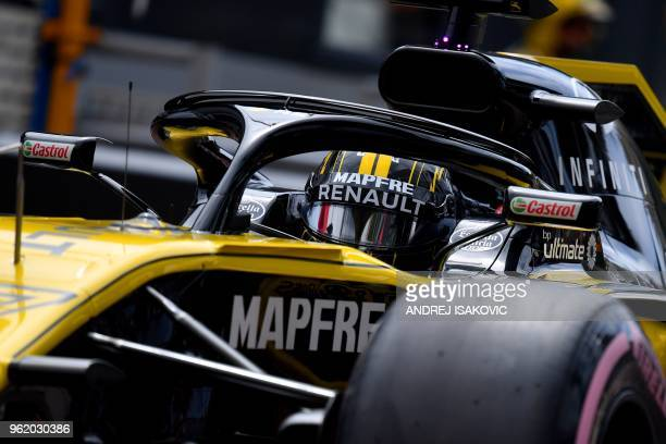 Renault's German driver Nico Hulkenberg drives during the first practice session at the Monaco street circuit on May 24, 2018 in Monaco, ahead of the...