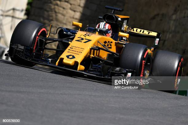 Renault's German driver Nico Hulkenberg steers his car during the third practice session of the Formula One Azerbaijan Grand Prix at the Baku City...