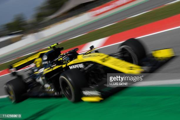 TOPSHOT Renault's German driver Nico Hulkenberg takes part in the second practice session at the Circuit de Catalunya in Montmelo in the outskirts of...