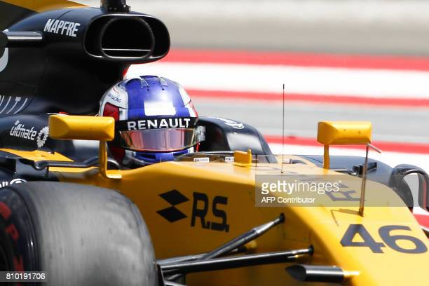 Renault's Russian driver Sergey Sirotkin drives his car during the first practice session of the Formula One Austria Grand Prix at the Red Bull Ring...