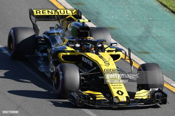 Renault's Spanish driver Carlos Sainz Jr drives around the Albert Park circuit during the second Formula One practice session in Melbourne on March...