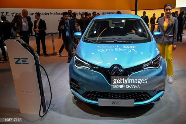 Renault's Zoe electric car is displayed at the Auto Expo 2020 at Greater Noida on the outskirts of New Delhi on February 5, 2020.
