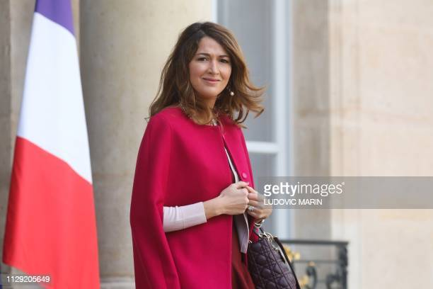 Rench-Moroccan journalist Zineb El-Rhazoui, a former columnist at French satirical weekly Charlie Hebdo, leaves the Elysee Palace in Paris following...