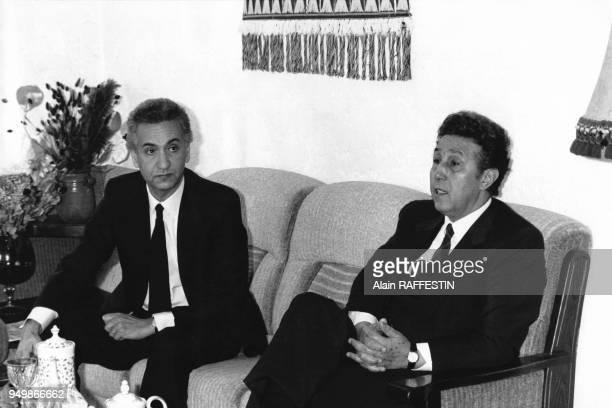 Rencontre des 2 chefs historiques de la révolution algérienne Hocine Aït Ahmed et de Ahmed Ben Bella en Décembre 1985 en France