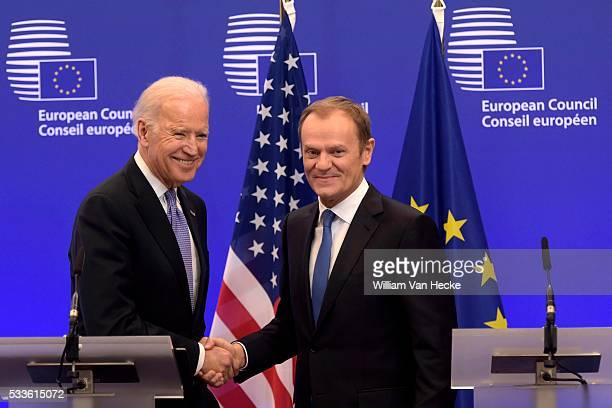 Rencontre entre le président du Conseil européen Donald Tusk et le VicePrésident des États Unis Joe Biden Ontmoeting tussen voorzitter van de...