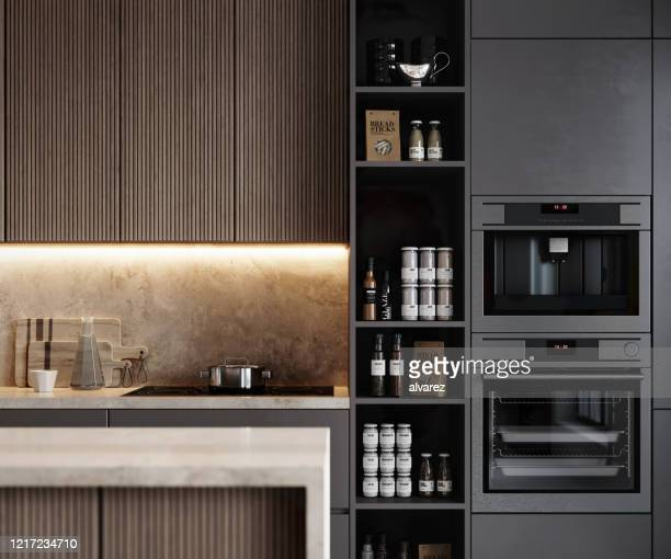 render image of a modern kitchen interior - domestic kitchen stock pictures, royalty-free photos & images