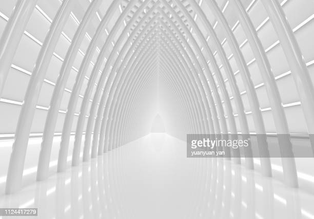 3d render modern tunnel - diminishing perspective stock pictures, royalty-free photos & images