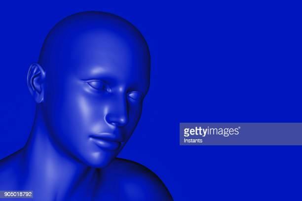 3D render of a blue cyborg.