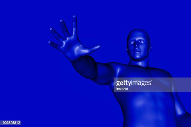 3D render of a blue male cyborg.