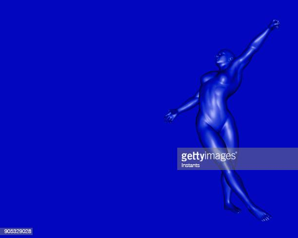 3D render of a female blue cyborg dancing.