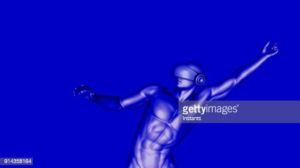 3D render of a male cyborg wearing virtual reality headset.