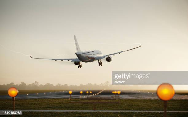 3d render of a passenger airplane landing on runway - landing touching down stock pictures, royalty-free photos & images
