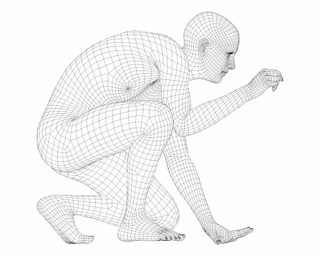 3D render of a wireframe male cyborg. 1127189442