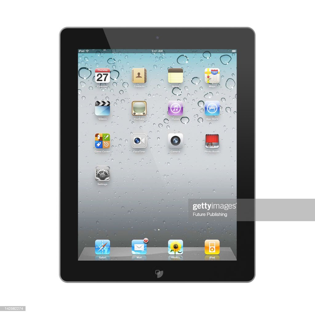 3D render of an Apple iPad 3 tablet on a white studio background, March 29, 2012.