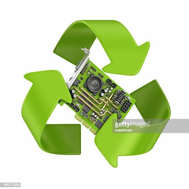 3-D render of computer part and recycling symbol