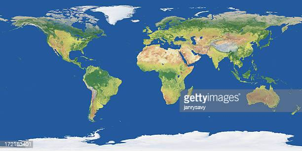 3-D render of global map with natural colors